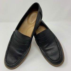 Sperry Sz 8 Black Leather Penny Loafer